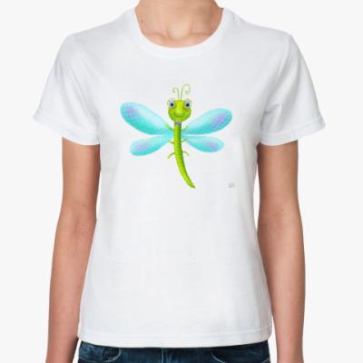 Классическая футболка смешная стрекоза