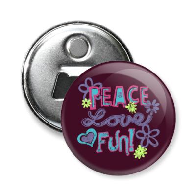 Магнит-открывашка Мир, Любовь, Веселье!