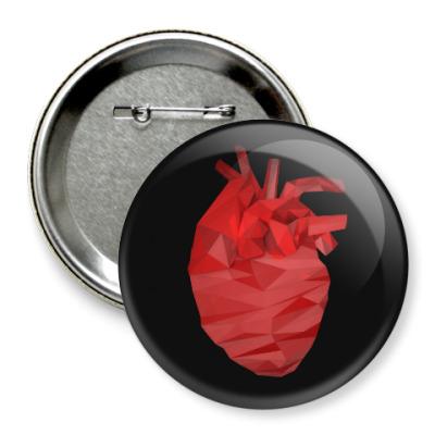 Значок 75мм Сердце 3D