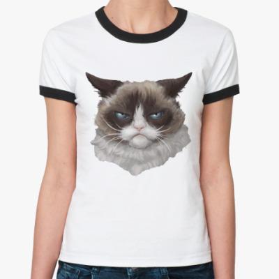 Женская футболка Ringer-T Grumpy Cat / Сердитый Кот