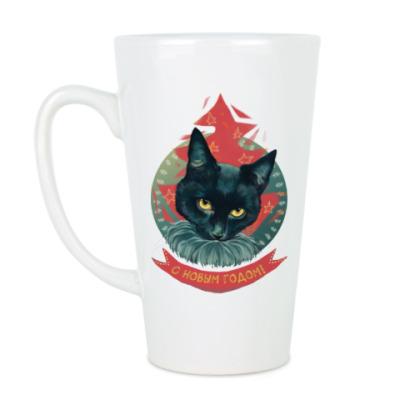 Чашка Латте Новогодний черный кот