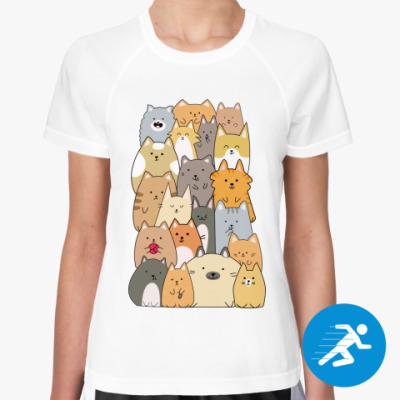 Женская спортивная футболка Смешные коты (funny cats)