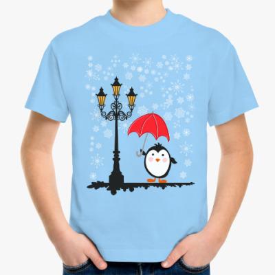 Детская футболка Пингвин и снег