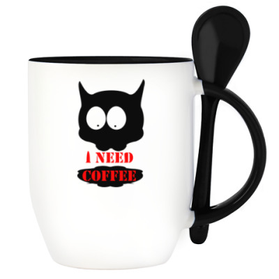 Cat  'i need coffee'