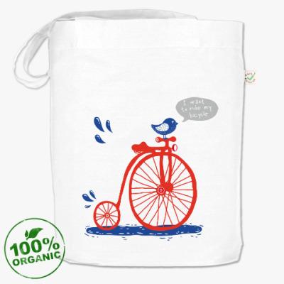 Сумка Птичка на ретро-велосипеде