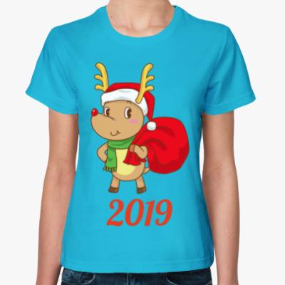 Женская футболка Олененок Санты 2019