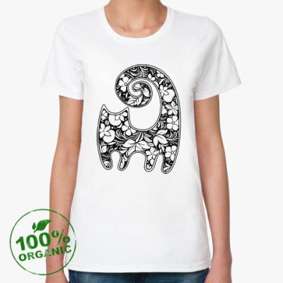 Женская футболка из органик-хлопка Кошка-хохлома