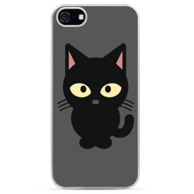 Чехол для iPhone Черный Котик