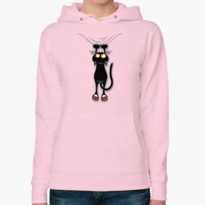Женская толстовка худи Черная кошка