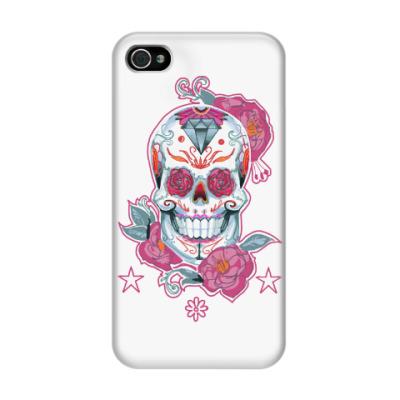Чехол для iPhone 4/4s Flower skull