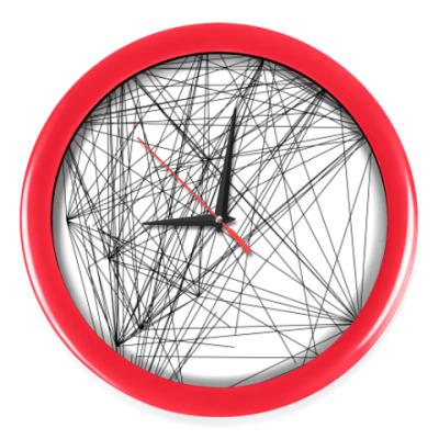 Настенные часы линейная абстракция с красным оботком
