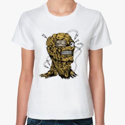Классическая футболка  череп-зомби
