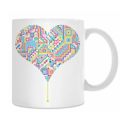 Электронное разноцветное сердце