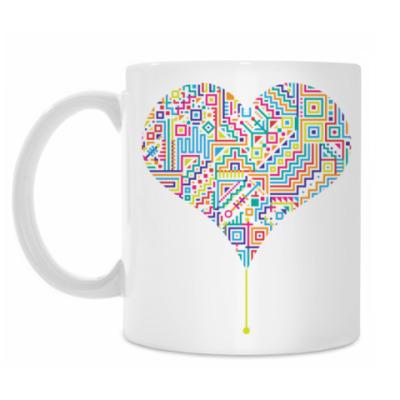 Кружка Электронное разноцветное сердце