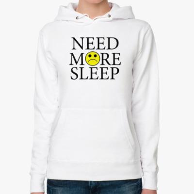 Женская толстовка худи Need more sleep