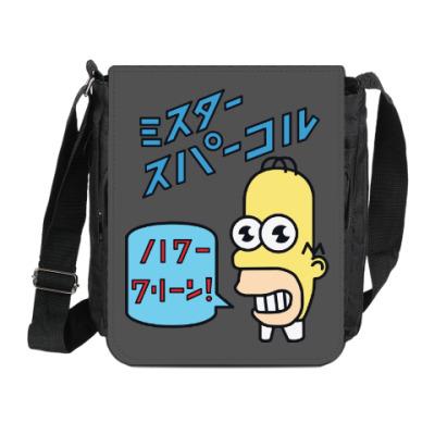 Сумка на плечо (мини-планшет) Симпсоны: Японский Гомер