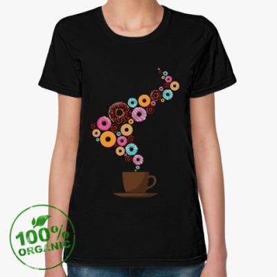 Женская футболка из органик-хлопка Кофе с пончиками