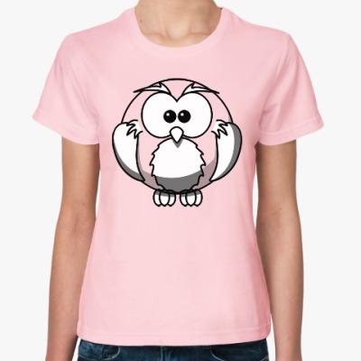 Женская футболка Сова, совушка, мудрые в городе