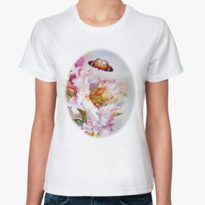 Классическая футболка Пионы и бабочки