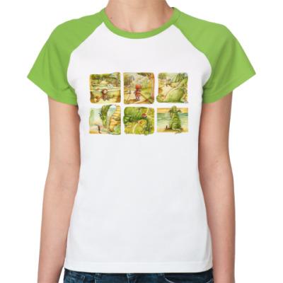 Женская футболка реглан  'девочки и дракон'