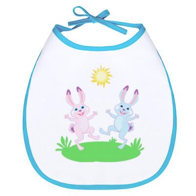 Слюнявчик Два весёлых зайца