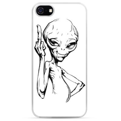 Чехол для iPhone смешной пришелец (funny alien)