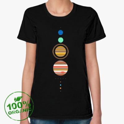Женская футболка из органик-хлопка Солнечная система минимализм