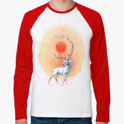 Футболка реглан с длинным рукавом Дух весны белый олень