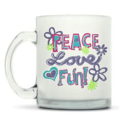 Кружка матовая Мир, Любовь, Веселье!
