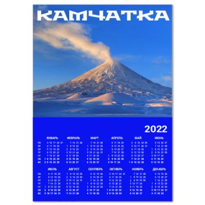 Календарь Пейзаж Камчатка: зима, горы и извержение вулкана