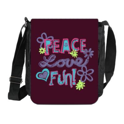 Сумка на плечо (мини-планшет) Мир, Любовь, Веселье!