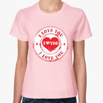 Женская футболка Печать I Love You