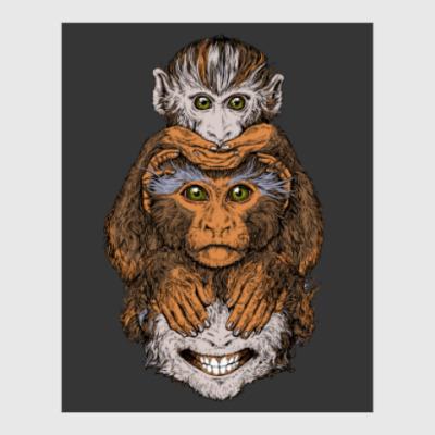 Постер Три обезьяны символ года