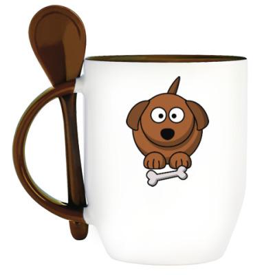 Кружка с ложкой Собачка с косточкой