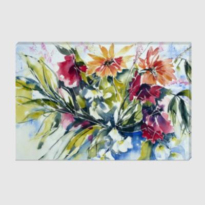 Холст 'Цветы акварель'
