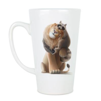Чашка Латте Счастливые Лев и Енот
