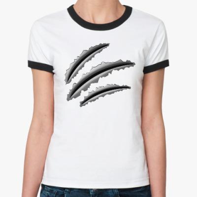 Женская футболка Ringer-T Следы когтей