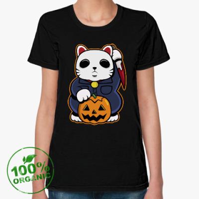 Женская футболка из органик-хлопка Halloween Maneki Neko и тыква
