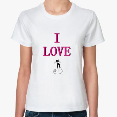 Классическая футболка Ай лав кэт