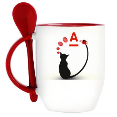 Кружка с ложкой Принт с кошкой