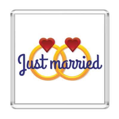Магнит Just Married - Обручальные кольца