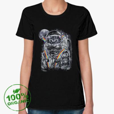 Женская футболка из органик-хлопка Кот-Космонавт