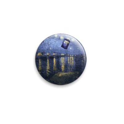 Значок 25мм Тардис Доктора в картине  Ван Гога Звездная ночь