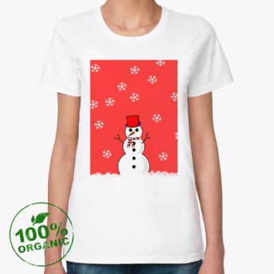Женская футболка из органик-хлопка Снеговик