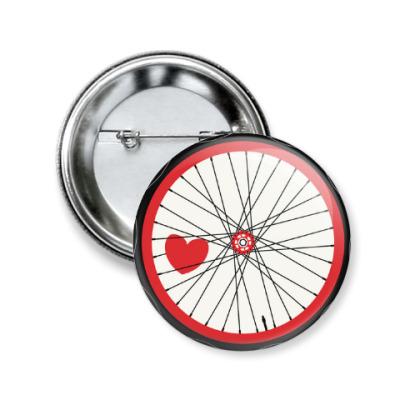 Значок 50мм heart wheel