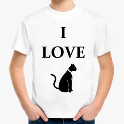 Детская футболка я люблю кота
