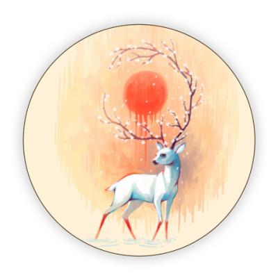 Костер (подставка под кружку) Дух весны белый олень