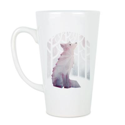 Чашка Латте Зимний Лис в снегу Winter fox