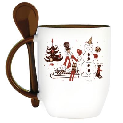 Кружка с ложкой Кофейная Новогодняя