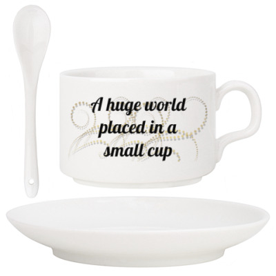 a huge world placed in a small cup